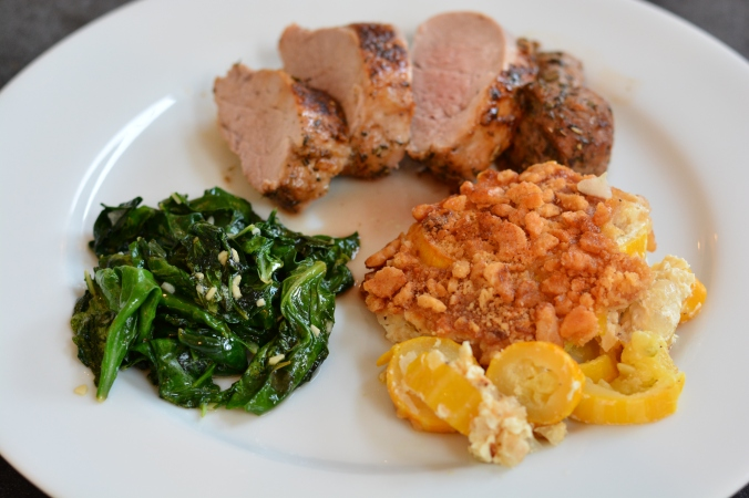Roasted pork tenderloin with sauteed spinach and Southern summer squash casserole #YearofMonths