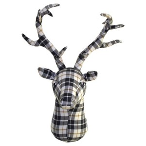 plaid felt stag head